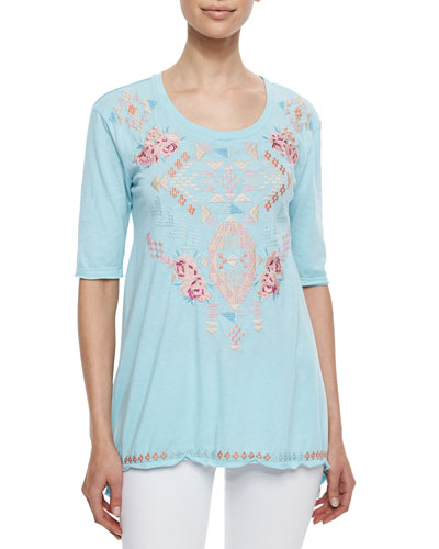 Betty Embroidered Trapeze Tee