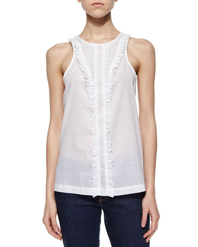 Wendy Ruffle-Trim Top, Chalk