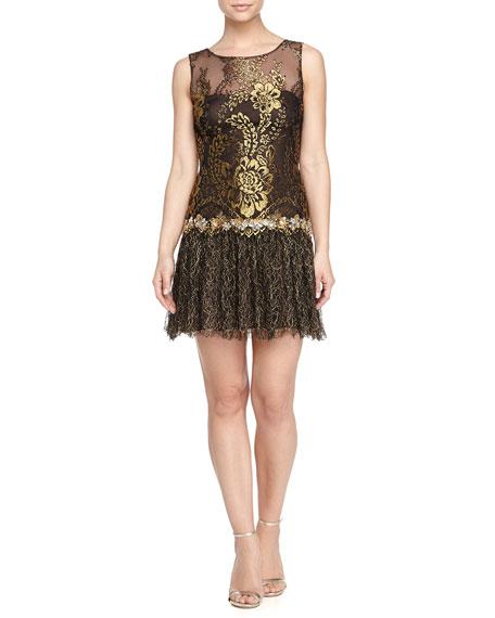 0ed59aff1072e Marchesa Notte Drop-Waist Cocktail Dress, Black/Gold