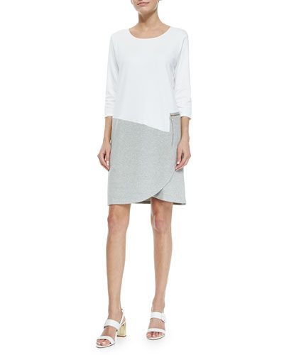 3/4-Sleeve Colorblock Dress, White/Heather Gray, Women