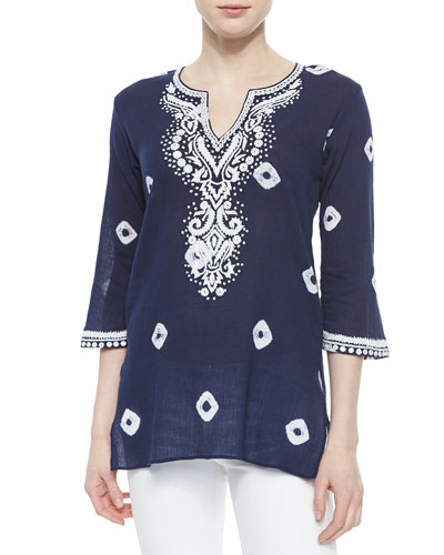 Embroidered Tie-Dye Tunic