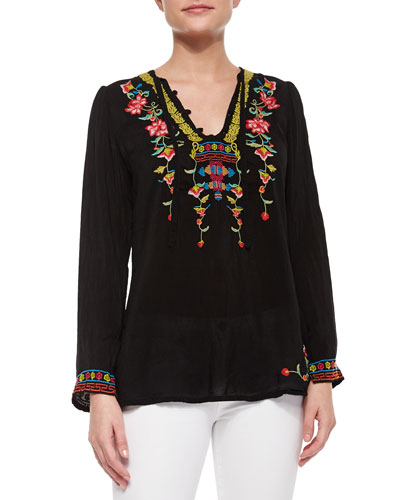 Suko Embroidered Georgette Blouse, Women
