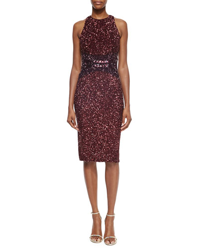 Ombre Allover Sequined Racerback Dress