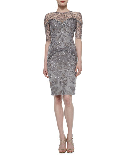 Sequin-Embroidered Sheer-Inset Sheath Dress