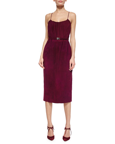 Belted Suede Cami Dress, Bordeaux