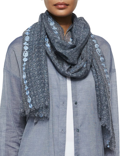 Printed Linen-Blend Scarf W/ Embroidery, Denim