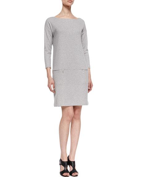 65c55a234 Joan Vass Knit Zip-Pocket Shift Dress, Petite