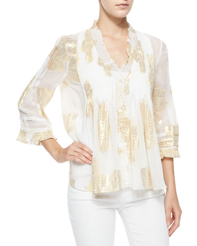 Layla Foil-Print Top, Ivory/Gold