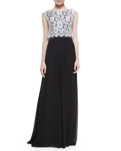 Popover Lace & Chiffon Gown