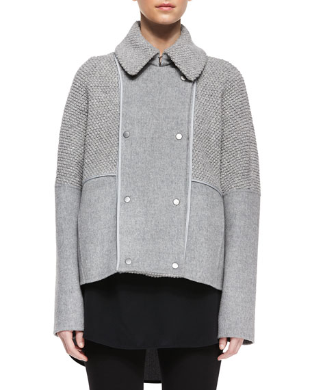f665ca28902 Vince Sherpa Double-Breasted Boucle Wool Peacoat