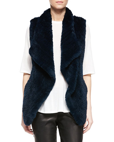 Rabbit Fur Draped Vest, Lake