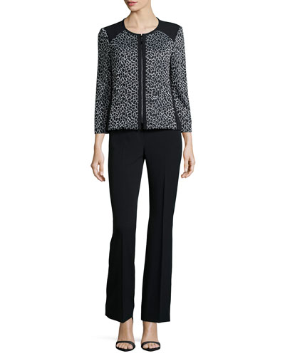 Animal-Print Zip-Front Two-Piece Pant Suit