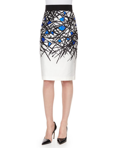 Abstract-Print Pencil Skirt