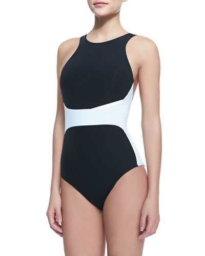 Two-Tone High-Neck One-Piece Swimsuit