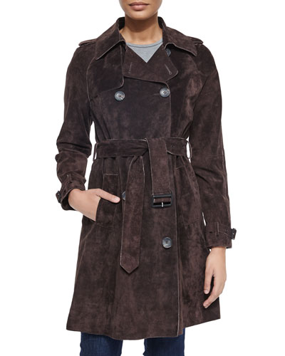 Suede Belted Trench Coat