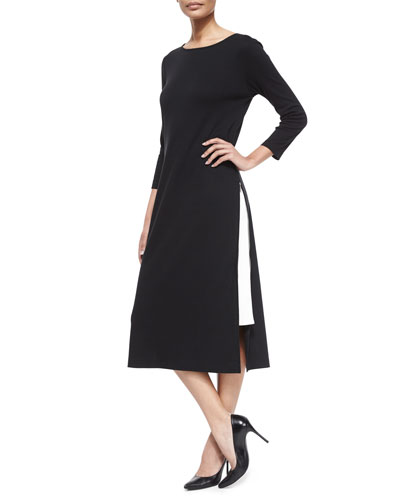 Long Zipper Dress W/ Contrast Gusset