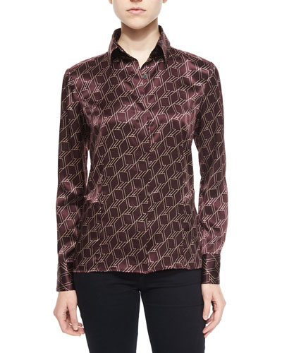 Karla Geometric Silk Blouse, Chocolate/White