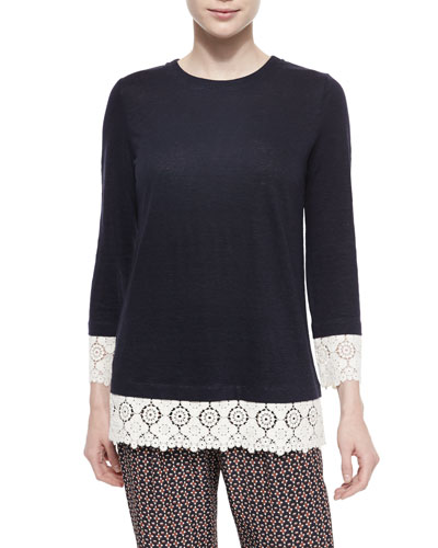Jewel-Neck Lace-Trim Tunic, Navy