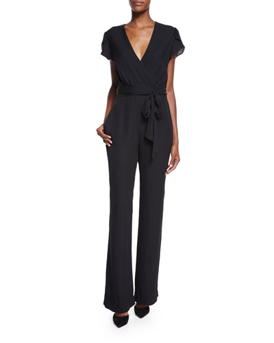 Kacey Cap-Sleeve Surplice Jumpsuit, Black