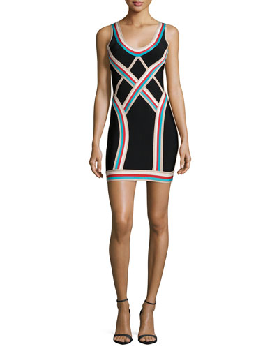 Scoop-Neck Athletic Striped Dress