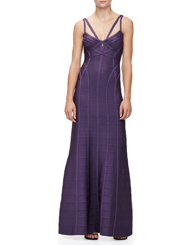 Sleeveless V-Neck Bandage Gown, Dark Dewberry