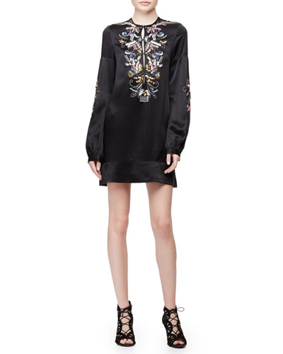 Long-Sleeve Embroidered Shift Dress, Black Multi