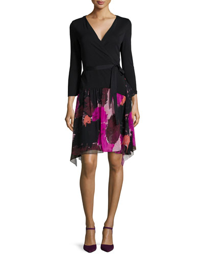 Rivieria 3/4-Sleeve Printed Chiffon Wrap Dress