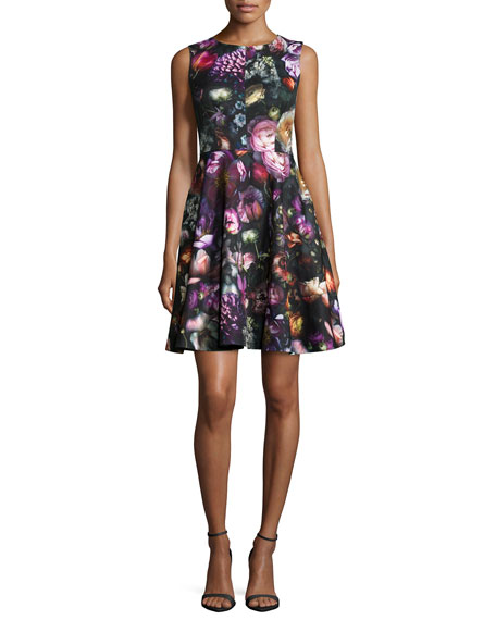 9c5b40c255d Ted Baker London Sleeveless Floral-Print Fit- -Flare Dress
