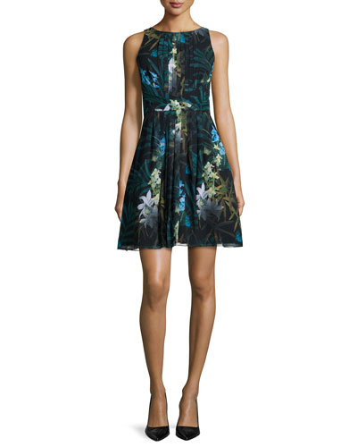 Twilight Floral-Print Pleated Dress, Black