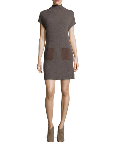 Geinat Ribbed Dress with Suede Trim