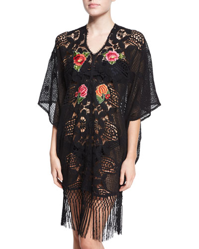 Gina Embroidered Crochet Caftan Coverup
