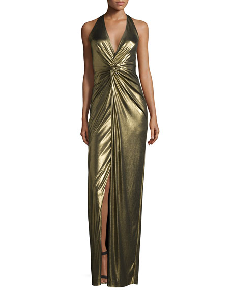46def8bf32c Halston Heritage Halter-Neck Twist-Front Evening Gown, Antique Gold