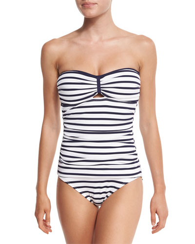 Stripe Bandeau One-Piece Swimsuit, Mare/White
