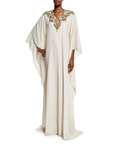 Long-Sleeve Embellished Caftan Gown, Gold