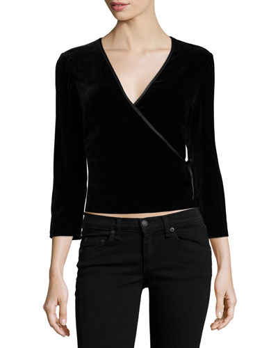 3/4-Sleeve Velvet Crop Top