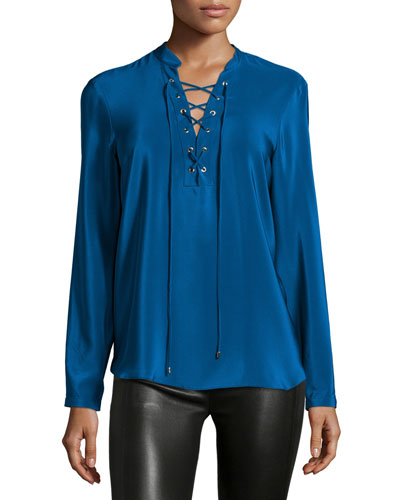 Winslow Lace-Up Long-Sleeve Top, Mystery