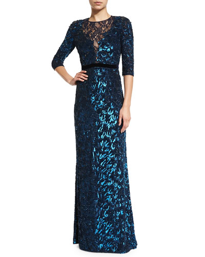 3/4-Sleeve Sequined Gown, Petrol