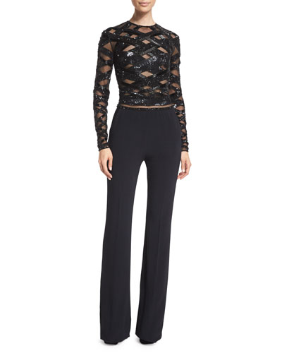 Long-Sleeve Embellished-Top Jumpsuit, Black