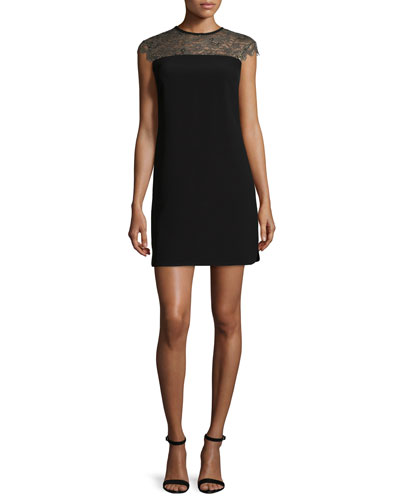 Lorenne Lace-Yoke Sheath Dress, Black
