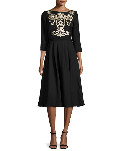 Shamari Embroidered-Bodice Dress, Black