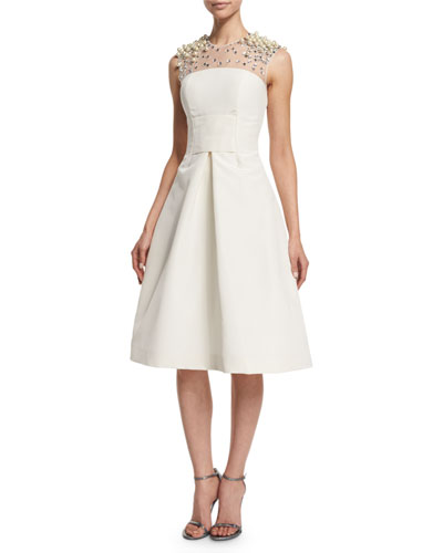 Beaded-Yoke Cocktail Dress, Ivory