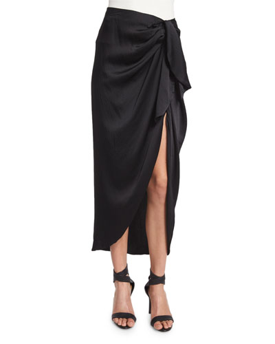 Waist-Tie Silk Midi Skirt, Black