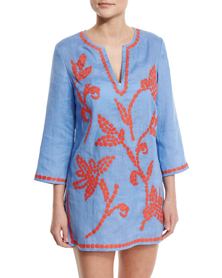 34e91b5485040c Tory Burch Talisay Embroidered Linen Coverup Tunic