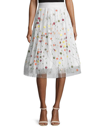 Catrina Embroidered Tulle Skirt, Cream