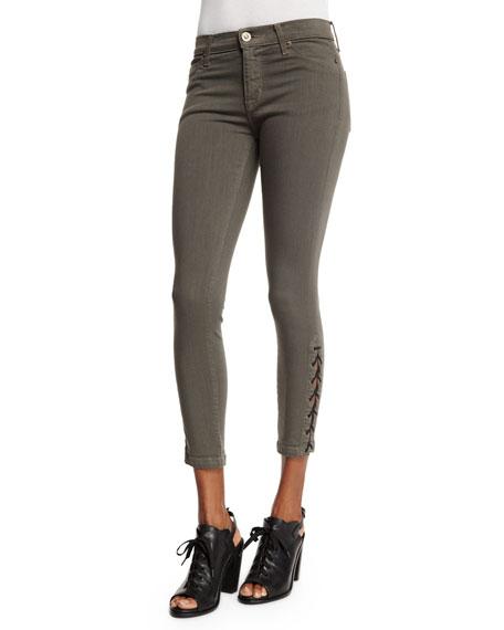 35560174136 Hudson Nix Lace-Up Cropped Jeans, Brunswick Green