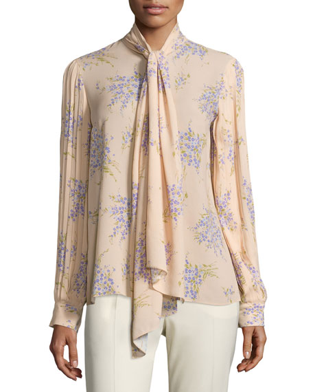 8b95577b905590 Michael Kors Collection Tie-Neck Pleated-Sleeve Blouse, Nude/Wisteria