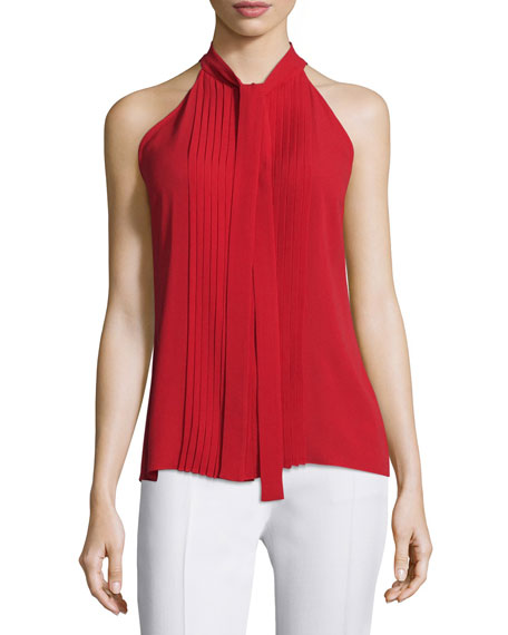 56737a0852846 Michael Kors Collection Tie-Neck Pleated-Front Sleeveless Top