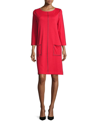 Studded 3/4-Sleeve Shift Dress, Red