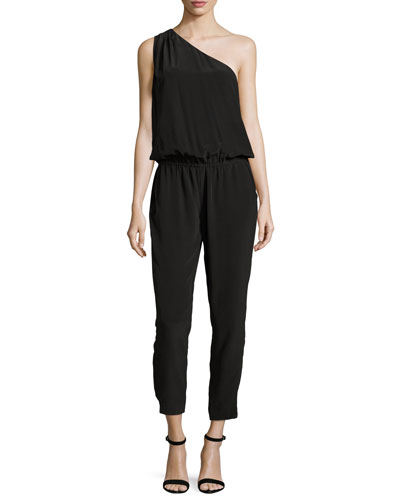 Cassia One-Shoulder Silk Jumpsuit, Vintage Caviar
