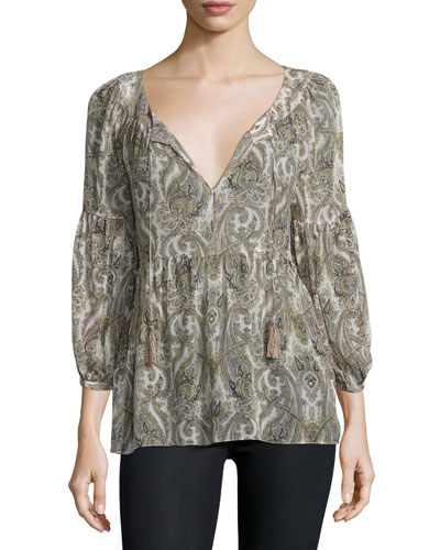 Haiku Tasseled Tie-Neck Paisley Silk Blouse, Bullion